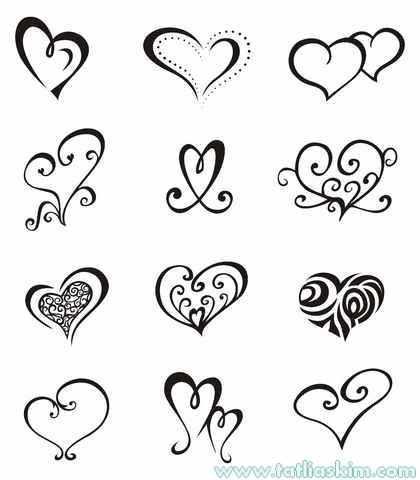 kolay çizilen kalp dövmeleri