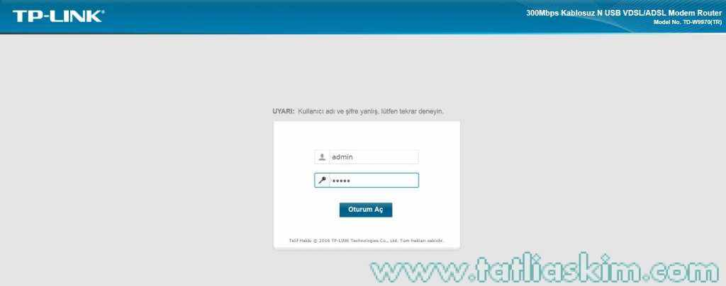 Tp-link td-w9970 Modem şifresi Nedir